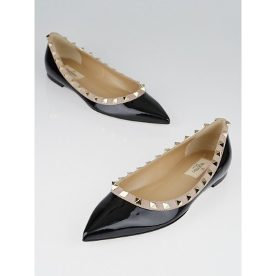 Valentino Black/Nude Patent Leather Rockstud Flats Size 7/37.5