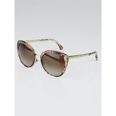 Chanel Brown/Purple Print Frame Gradient Tint Cat-Eye Sunglasses-4208