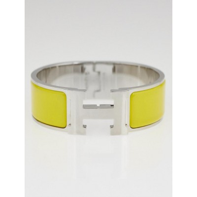 Hermes Yellow Enamel Palladium Plated Clic-Clac H PM Wide Bracelet