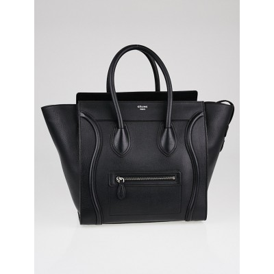 Celine Black Drummed Calfskin Leather Mini Luggage Tote Bag