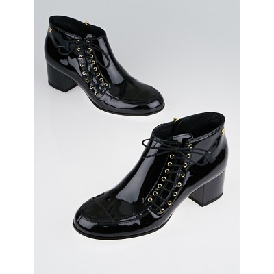 Chanel Black Patent Leather Side-Lace Ankle Boots Size 8.5/39