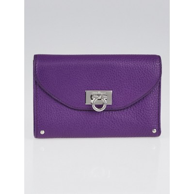 Salvatore Ferragamo Grape Calf Leather Flap Wallet