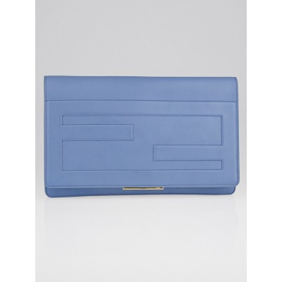Fendi Blue Leather Tube Macro Clutch Bag 8M0351