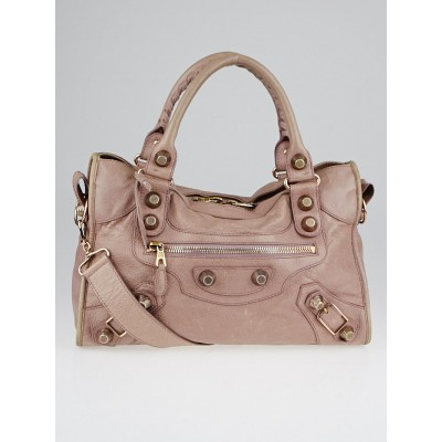 Balenciaga Parme Lambskin Leather Giant 21 Rose Gold Motorcycle City Bag