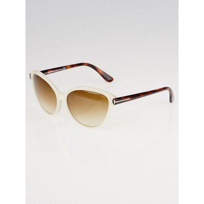 Tom Ford White Acetate Cat-Eye Priscila Sunglasses- TF 342