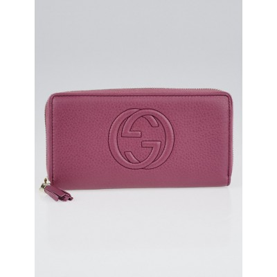 Gucci Pink Pebbled Leather Soho Zippy Long Wallet