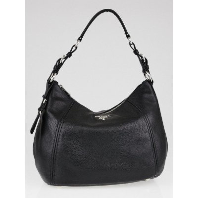 Prada Black Vitello Phenix Leather Hobo Bag BR5096