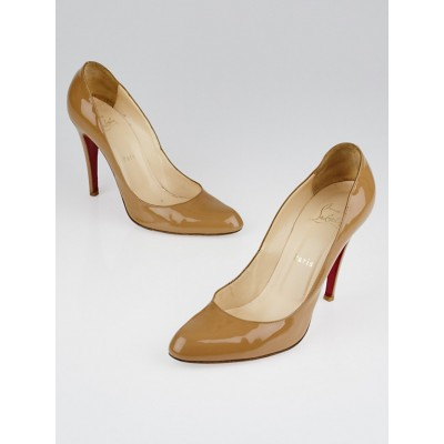 Christian Louboutin Camel Patent Leather Decollete 868 100 Pumps Size 9/39.5