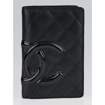 Chanel Black/Black Patent Quilted Ligne Cambon Agenda/Notebook