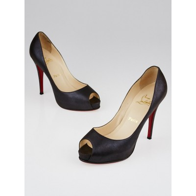 Christian Louboutin Black Metallic Leather Very Prive 120 Peep Toe Pumps Size 8.5/39