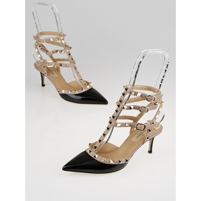 Valentino Black/Nude Patent Leather Rockstud T-Strap Pumps Size 5.5/36