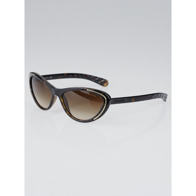 Chanel Tortoise Shell Frame Gradient Tint Cat-Eye Chain Sunglasses-6039