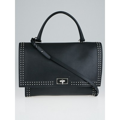 Givenchy Black Leather Stud Couture Medium Shark Lock Satchel Bag