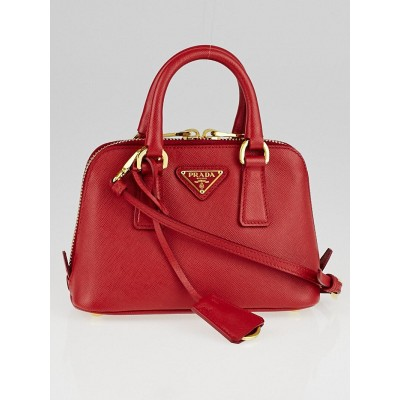 Prada Red Saffiano Lux Leather Mini Bag BL0851