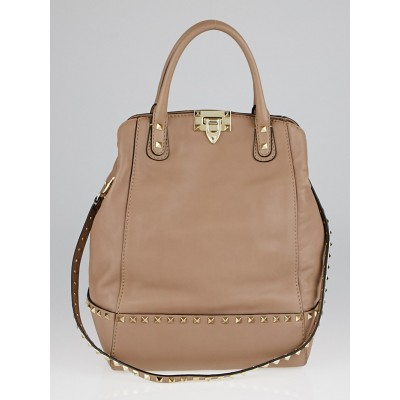 Valentino Camel Leather Rockstud New Dome Tote Bag