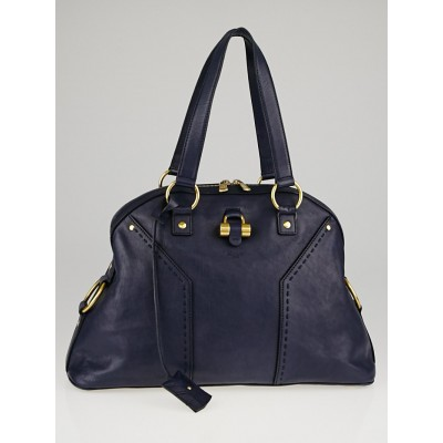 Yves Saint Laurent Navy Blue Calfskin Leather Large Muse Bag