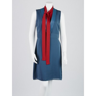 Gucci Blue/Red Silk Neck Tie Sleeveless Dress Size 10/44
