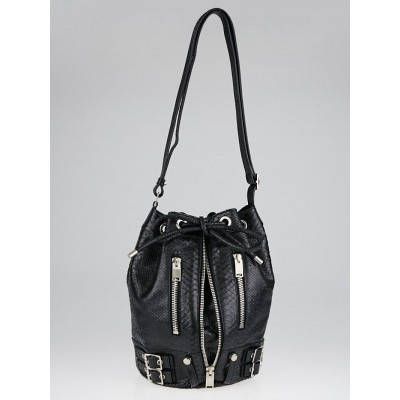 Yves Saint Laurent Black Python Embossed Leather Sac Rider Bucket Bag