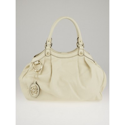 Gucci White Leather Medium Sukey Tote Bag