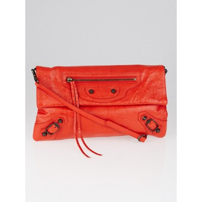 Balenciaga Coquelicot Lambskin Leather Envelope Clutch Crossbody Bag w/ Strap