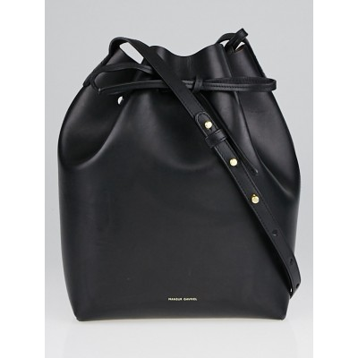 Mansur Gavriel Black/Ballerina Vegetable Tanned Leather Bucket Bag