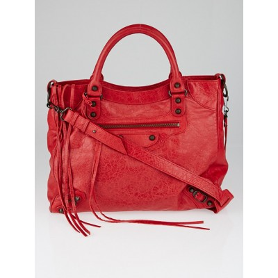 Balenciaga Rouge Cardinal Lambskin Leather Motorcycle Velo Bag