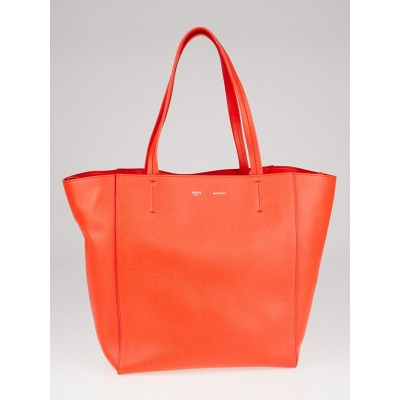 Celine Coral Pebbled Leather Horizontal Phantom Small Cabas Tote Bag