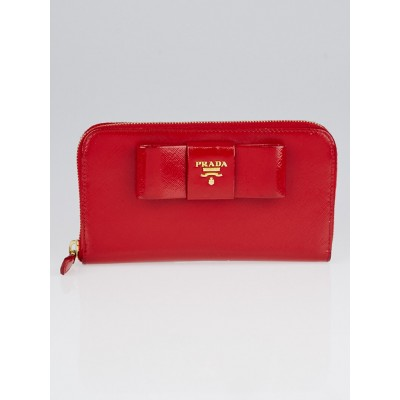 Prada Rosso Saffiano Vernice Leather Bow Zip Wallet 1M0506