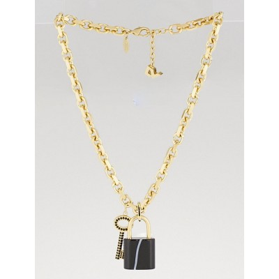 Louis Vuitton Goldtone and Black Crystal Key and Padlock Charm Necklace