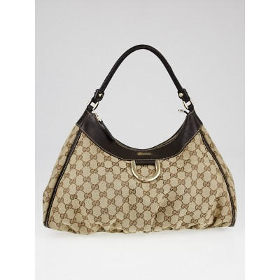 Gucci Beige/Ebony GG Canvas Large D-Ring Hobo Bag