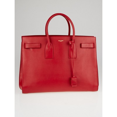 Yves Saint Laurent Red Smooth Calfskin Leather Large Sac de Jour Bag