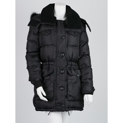 Burberry Brit Black Nylon Down Fox Fur Hooded Coat Size M