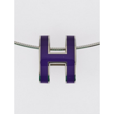 Hermes Purple Enamel Sterling Silver Pop H Pendant Necklace