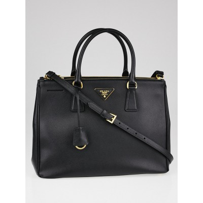 Prada Black Saffiano Lux Leather Medium Double Zip Tote Bag BN2274