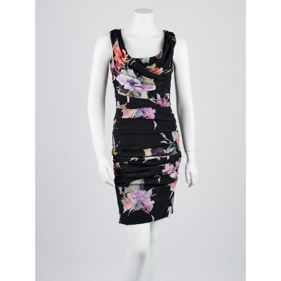 Dolce & Gabbana Black Floral Print Ruched Dress Size 6/40