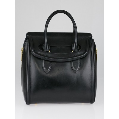 Alexander McQueen Black Leather Heroine Satchel Bag