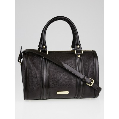Burberry Dark Chocolate Leather Medium Alchester Bowling Bag