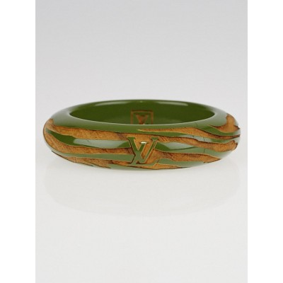 Louis Vuitton Green Lacquer and Wood Zemonogram Bangle Bracelet