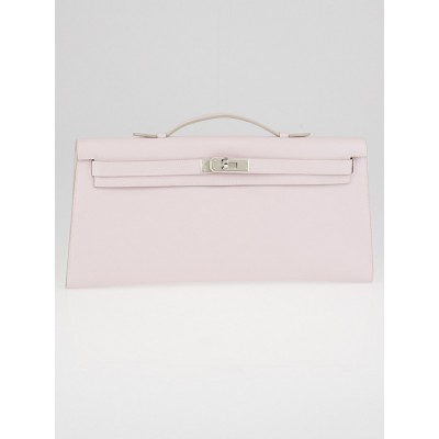 Hermes 34cm Rose Dragee Swift Leather Palladium Plated Kelly Longue Clutch Bag