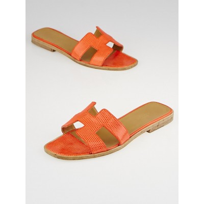 Hermes Orange Lizard Flat Oran Sandals Size 6.5/37