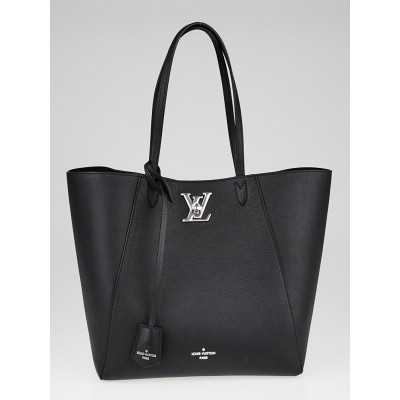 Louis Vuitton Black Leather Lockme Cabas Bag