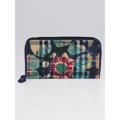 Burberry Printed Horseferry Floral and Check Zip Around Wallet