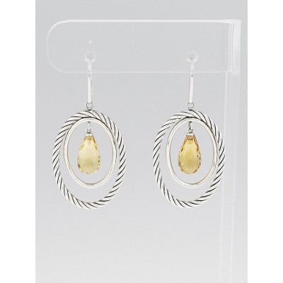 David Yurman Sterling Silver and Citrine Mobile Drop Earrings
