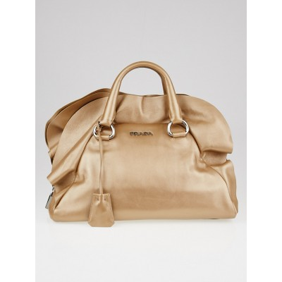 Prada Gold Metallic Nappa Leather Ruffle Bauletto Bag