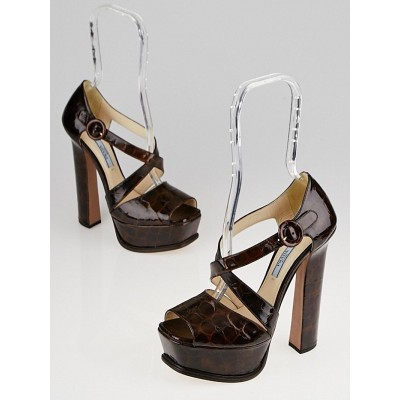 Prada Brown Alligator Embossed Patent Leather Platform Strappy Sandals Size 7/37.5