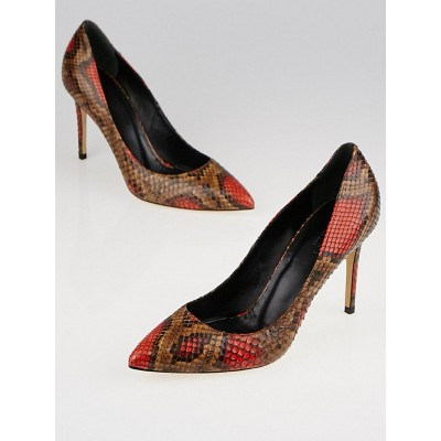 Gucci Brown/Red Python Pumps Size 6.5/37