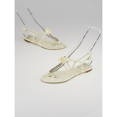 Christian Dior White Leather T-Strap Thong Sandals Size 7/37.5