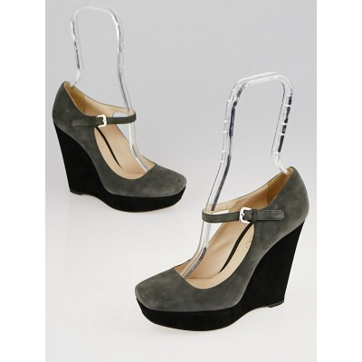 Prada Grey/Black Suede Mary Jane Platform Wedges Size 6.5/37