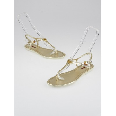 Prada Metallic Gold Leather Thong Sandals Size 7.5/38