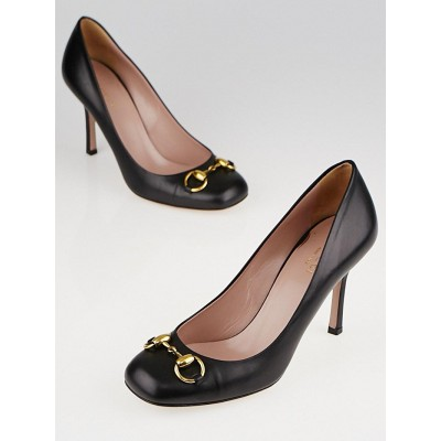 Gucci Black Leather Horsebit Pumps Size 6.5/37